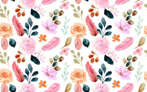 Belo padrão sem emenda com flores em aquarela e penas