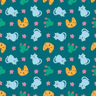 Belo padrão sem emenda com ícones e elementos de design, animais fofos e flores