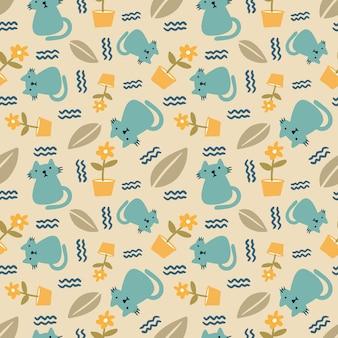Belo padrão sem emenda com ícones e elementos de design animais fofos e folhas
