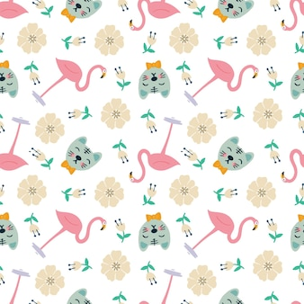 Belo padrão sem emenda com ícones e elementos de design animais fofos