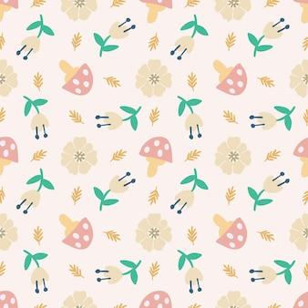 Belo padrão sem emenda com ícones e elementos de design flores e cogumelos