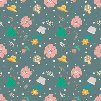 Belo padrão sem emenda com ícones e elementos de design flores e folhas