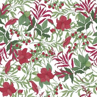Belo padrão sem emenda com lindas flores vermelhas desabrochando no jardim, frutas e folhas