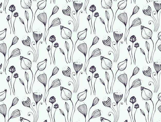 Belo padrão sem emenda com motivo de natureza de fantasia floral desenhada de mão, flores, plantas, ramos. fundo preto e branco do vetor sem fim.