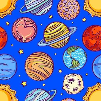 Belo padrão sem emenda com planetas do sistema solar. ilustração desenhada à mão