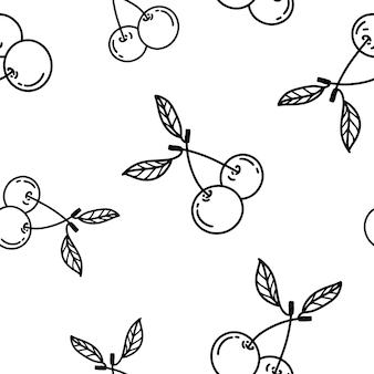 Belo padrão sem emenda de cerejas emparelhadas com folhas.