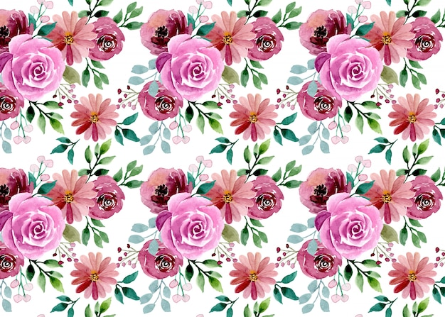 Belo padrão sem emenda em aquarela floral
