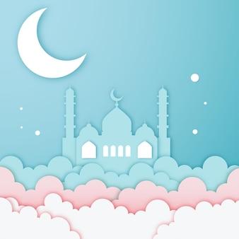 Belo papel de mesquita cortado no céu da lua branca e banner de fundo de nuvens