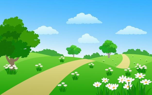 Belo parque com árvore de trilha e flores