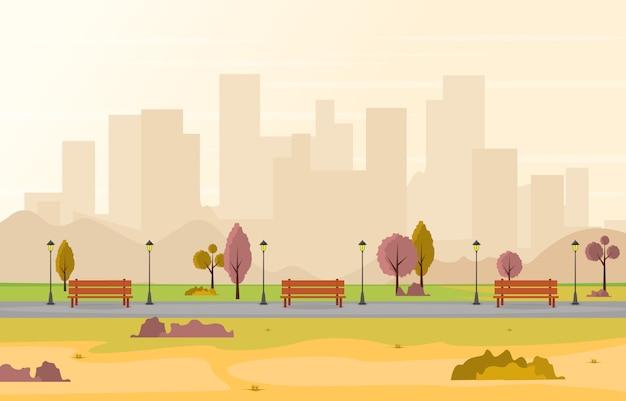 Belo parque da cidade no outono outono com edifício ilustração skyline