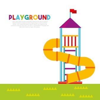Belo parque infantil com crianças brincando