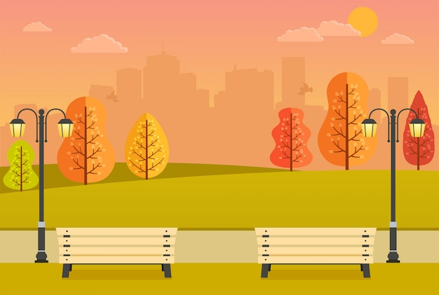 Belo parque outono com bancos, árvores amarelas e laranjas e