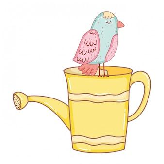 Belo pássaro com aspersão