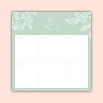 Belo planejador semanal minimalista