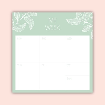 Belo planejador semanal minimalista Vetor Premium