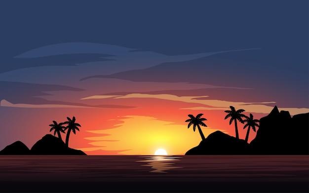 Belo pôr do sol tropical calmo do oceano