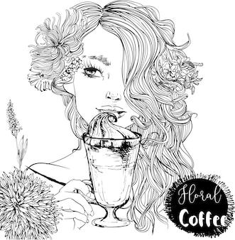 Belo retrato de uma garota de desenho animado com uma xícara de café