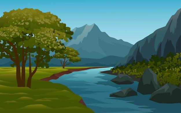 Belo riacho e paisagem montanhosa