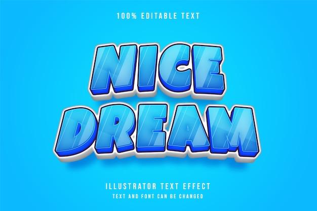 Belo sonho, efeito de texto editável em 3d, efeito de gradação azul e estilo cômico