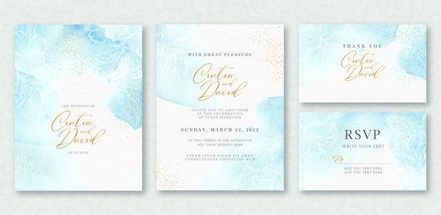 Belo splash e aquarela arte floral no modelo de cartão de casamento