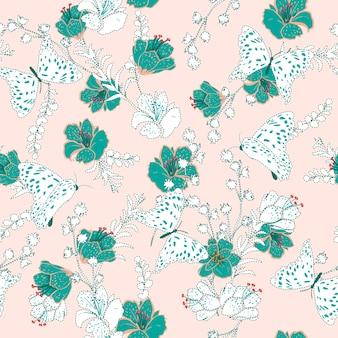 Belo traço e bordado flores sem costura padrão