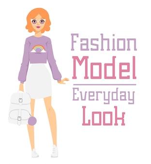 Belo vetor dos desenhos animados moda menina modelo construtor olhar em pé