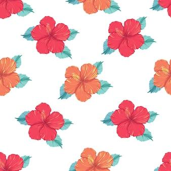 Belo vetor sem costura padrão tropical com flor de hibisco em fundo branco