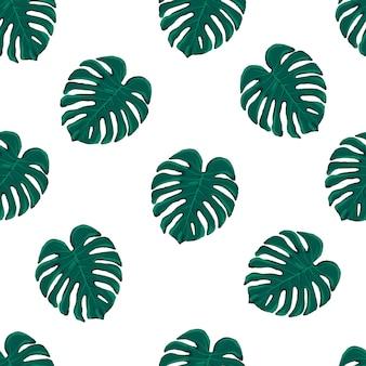 Belo vetor sem costura padrão tropical com folhas de monstera em fundo branco