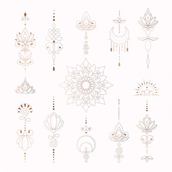 Belos elementos tribais para desenho de tatuagem de mulher