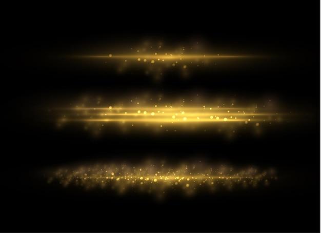 Belos flashes de luz. poeira amarela. efeito bokeh.