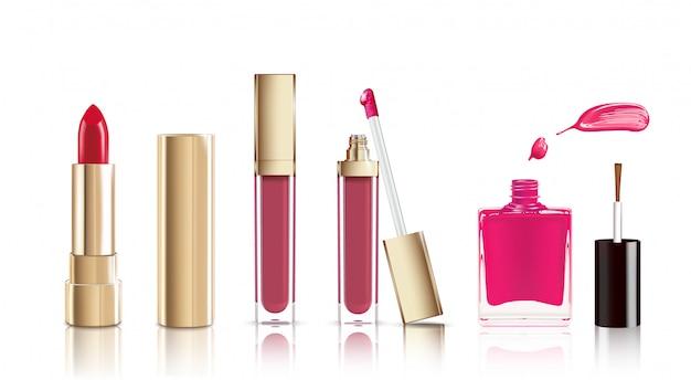 Belos objetos cosméticos definidos em ouro.