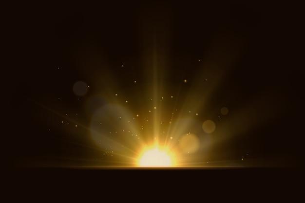 Belos raios de efeito de luz