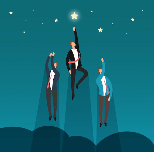 Bem sucedida equipe vencedora de negócios voando para as estrelas. profissionais de herói e conceito de vetor de líder