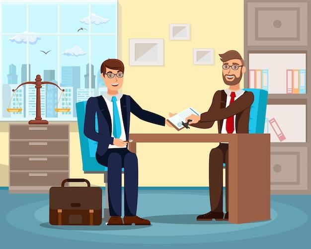 Bem sucedida, trabalho, entrevista, apartamento, vetorial, ilustração