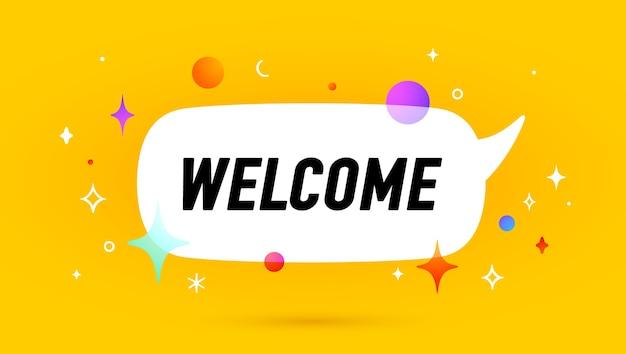 Bem-vinda. banner, balão, conceito de cartaz e adesivo, estilo geométrico com texto de boas-vindas.