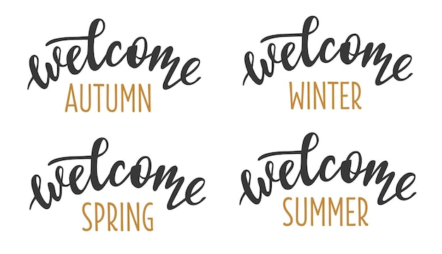 Bem-vindo 4 temporadas definidas ícone de logotipo de letras desenhadas à mão