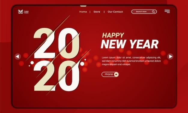 Bem-vindo a 2020, o tema do ano novo com o efeito de fatia na página de destino