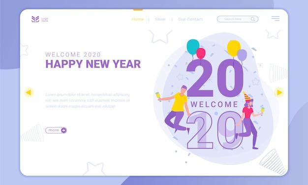 Bem-vindo a 2020, tema do ano novo na página de destino