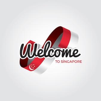 Bem-vindo a cingapura, ilustração vetorial em um fundo branco