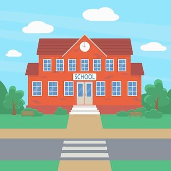 Bem-vindo à escola. edifício da escola no contexto de árvores e arbustos verdes. conceito de educação Vetor Premium