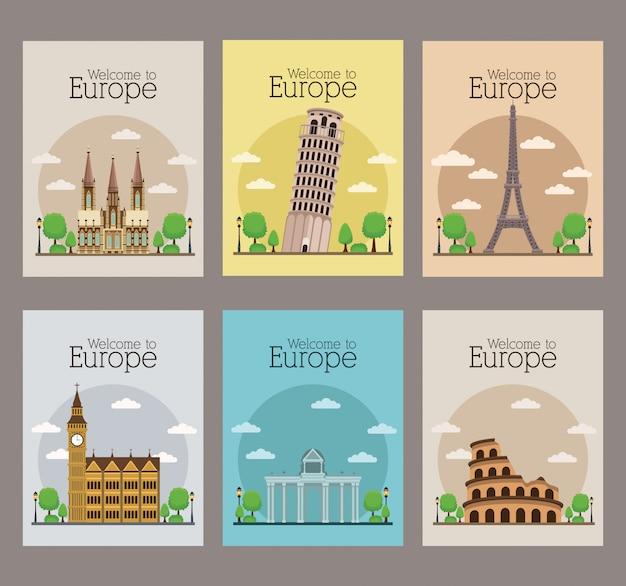 Bem-vindo à europa conjunto de cartazes de viagens