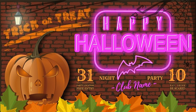 Bem-vindo à festa da noite de halloween. convite. festa em uma boate. inscrição de néon em um fundo de parede de tijolo. ilustração vetorial