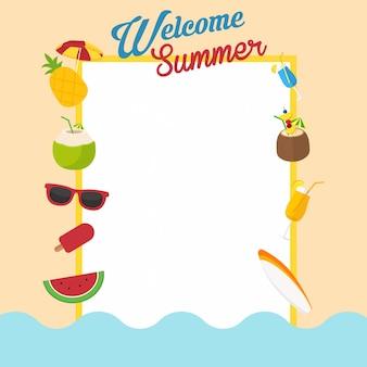 Bem-vindo a fundo de design plano de férias de verão