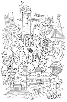 Bem-vindo à ilustração de contorno de cidade de bandung