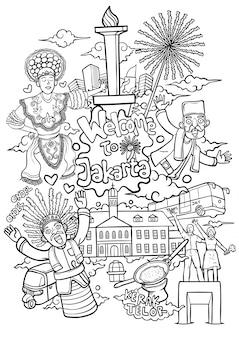 Bem-vindo à ilustração de contorno dos desenhos animados de jacarta