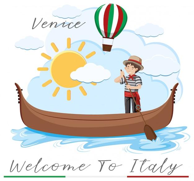 Bem-vindo à itália com barco em veneza