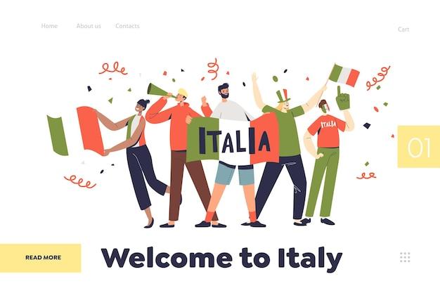 Bem-vindo à itália, conceito de página de destino