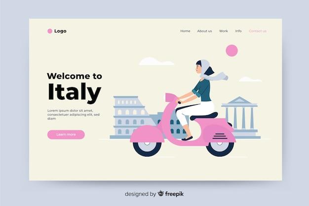 Bem-vindo à página de destino colorida da itália