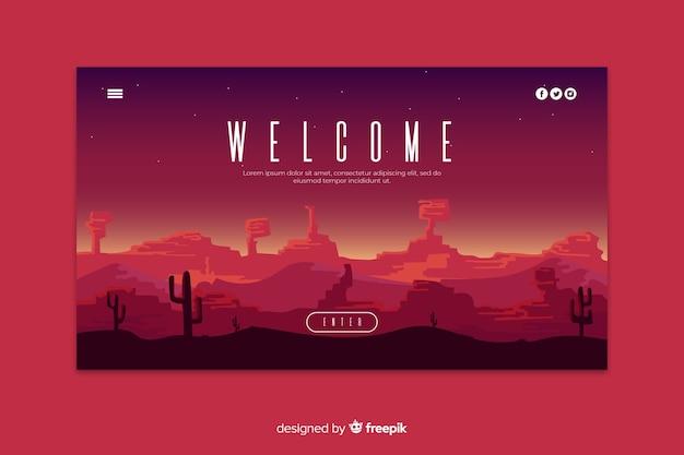 Bem-vindo à página de destino com paisagem gradiente