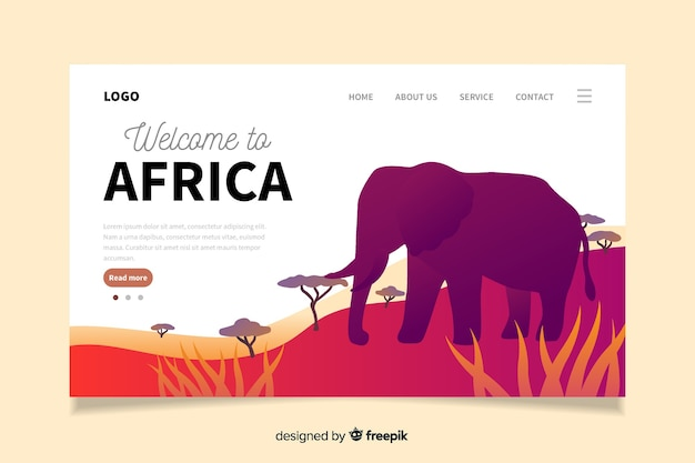 Bem-vindo à página de destino da áfrica